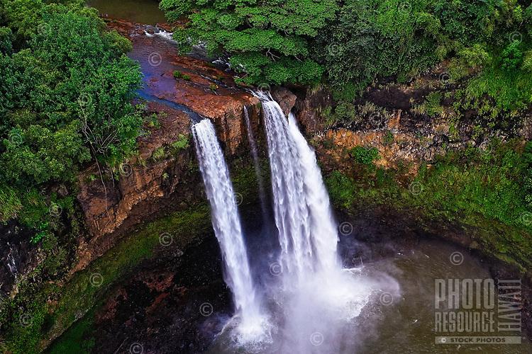 Aerial view of Wailua Falls on the Wailua River, Wailua, Kaua'i. These beautiful falls are readily accessible to visitors.