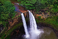 Aerial view of Wailua Falls on the Wailua River, Wailua, Kaua'i. These beautiful falls are readily accessible to visitors.