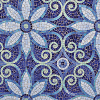 Natasha, a hand-cut jewel glass mosaic is shown in Iolite, Lapis Lazuli, Blue Spinel, Covelite, and Feldspar, is part of the Delft Collection by Sara Baldwin for New Ravenna Mosaics.