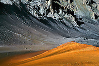 Diversity of the natrural landscape in the crater at HALEAKALA NATIONAL PARK on Maui in Hawaii is colorful yet barren