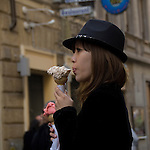 This japanese lady wanted to pose for me with the famous icecream in rome, italy