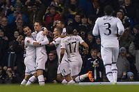 12.12.2013 London, England. Tottenham Hotspur forward Roberto Soldado (9) celebrates scoring the opening goal during the Europa League game between Tottenham Hotspur and Anzhi Makhachkala from White Hart Lane.