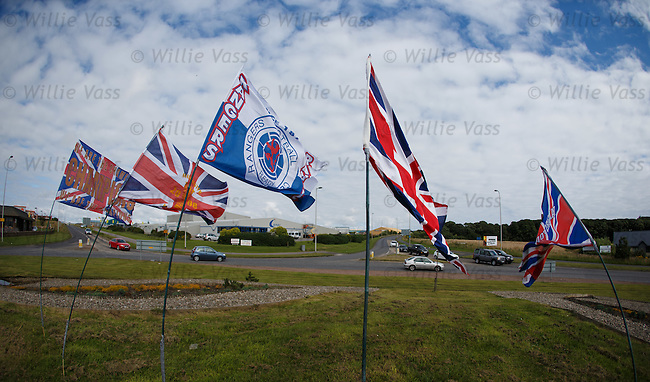 FOR SUNDAY MAIL.Welcome to Peterhead... Rangers flags adorning the roundabout on entrance to the blue toon