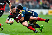 June 3rd 2017, AMI Stadium, Christchurch, New Zealand; Super Rugby; Crusaders versus Highlanders;  Ryan Crotty of the Crusaders is tackled by Waisake Naholo of the Highlanders during the Super Rugby match