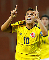 MENDOZA -ARGENTINA-03-02-2013: Juan Fernando Quintero jugador de Colombia celebra el gol anotado durante partido entre los seleccionados de Colombia y en el estadio La Malvinas de Mendoza Argentina,  febrero 3 de 2013. En partido la final del Suramericano Sub 20, Colombia se coronó campeón y clasificó al mundial en Turquia.  Juan Fernando Quintero player from Colombia celebrates the goal scored during the match between Colombia and Paraguay in the stadium The Falklands in Mendoza, Argentina, on February 3, 2013. In South American game for the final of the Under 20, Colombia was crowned champion and qualified for the world in Turkey world cup.  Photo: Photosport / Photogamma /VizzorImage/