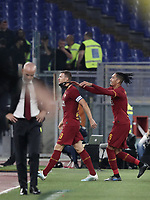 Football, Serie A: AS Roma - AC Milan, Olympic stadium, Rome, October 27, 2019. <br /> Roma's captain Edin Dzeko (l) celebrates after scoring with his teammate Chris Smalling (r) during the Italian Serie A football match between Roma and Milan at Olympic stadium in Rome, on October 27, 2019. <br /> UPDATE IMAGES PRESS/Isabella Bonotto