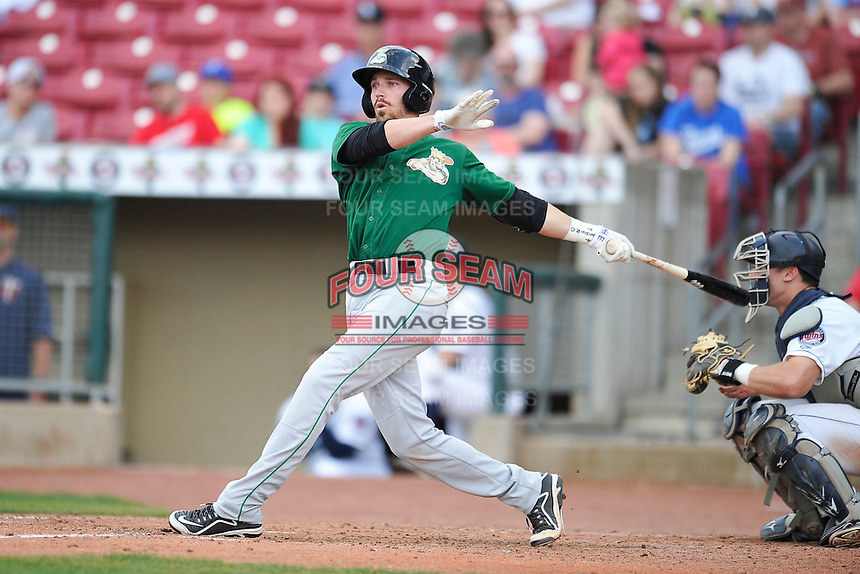 Clinton LumberKings Conner Hale (8) swings during the game against the Cedar Rapids Kernels at Veterans Memorial Stadium on April 16, 2016 in Cedar Rapids, Iowa.  Cedar Rapids won 7-0.  (Dennis Hubbard/Four Seam Images)
