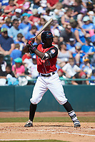 Sherten Apostel (13) of the Hickory Crawdads at bat against the Charleston RiverDogs at L.P. Frans Stadium on May 13, 2019 in Hickory, North Carolina. The Crawdads defeated the RiverDogs 7-5. (Brian Westerholt/Four Seam Images)