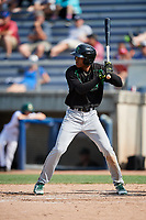 Dayton Dragons right fielder Andy Sugilio (5) at bat during a game against the Beloit Snappers on July 22, 2018 at Pohlman Field in Beloit, Wisconsin.  Dayton defeated Beloit 2-1.  (Mike Janes/Four Seam Images)
