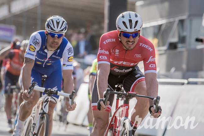 John Degenkolb (DEU/Trek-Segafredo) crosses the finish line in 5th with Tom Boonen (BEL/Quick-Step Floors) in tow<br /> <br /> 79th Gent-Wevelgem 2017 (1.UWT)<br /> 1day race: Deinze &rsaquo; Wevelgem - BEL (249km)
