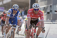 John Degenkolb (DEU/Trek-Segafredo) crosses the finish line in 5th with Tom Boonen (BEL/Quick-Step Floors) in tow<br /> <br /> 79th Gent-Wevelgem 2017 (1.UWT)<br /> 1day race: Deinze › Wevelgem - BEL (249km)
