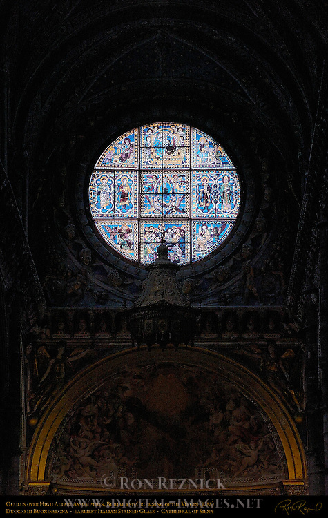 Oculus over High Altar, Assumption, Burial and Crowning of the Virgin 1288, Duccio di Buoninsegna, earliest example of Italian Stained Glass, Cathedral of Siena, Santa Maria Assunta, Siena, Italy