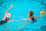 LOS ANGELES, CA - MAY 13: Brianna Daboub #11 of the University of Southern California looks for an open teammate past Jordan Raney #7 of Stanford University during the Division I Women's Water Polo Championship held at the Uytengsu Aquatics Center on the USC campus on May 13, 2018 in Los Angeles, California. USC defeated Stanford 5-4. (Photo by Tim Nwachukwu/NCAA Photos via Getty Images)