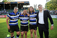 Victor Delmas, Lucas Noguera, Max Clark and Josh Bayliss of Bath Rugby pose for a photo after the match. Aviva Premiership match, between Bath Rugby and London Irish on May 5, 2018 at the Recreation Ground in Bath, England. Photo by: Patrick Khachfe / Onside Images