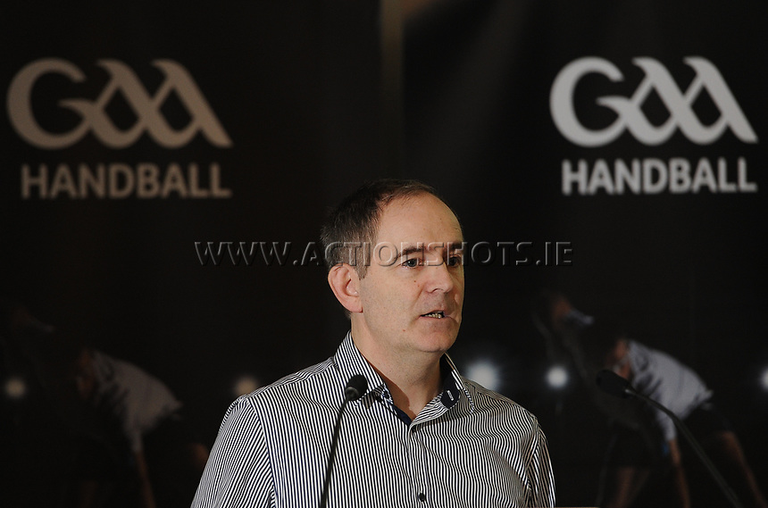 04/02/2018; GAA Handball Annual Congress 2018; Croke Park, Dublin;<br /> Fixtures &amp; Events Officer Austin McKenna addresses congress.<br /> Photo Credit: actionshots.ie/Tommy Grealy