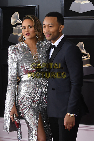 NEW YORK, NY - JANUARY 28: Chrissy Teigen and John Legend at the 60th Annual GRAMMY Awards at Madison Square Garden on January 28, 2018 in New York City. <br /> CAP/MPI/JP<br /> &copy;JP/MPI/Capital Pictures