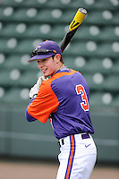 Designated hitter Tyler Krieger (3) of the Clemson Tigers prior to the Reedy River Rivalry game against the South Carolina Gamecocks on Saturday, February 28, 2015, at Fluor Field at the West End in Greenville, South Carolina. South Carolina won, 4-1. (Tom Priddy/Four Seam Images)