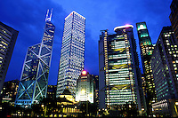 Skylines of the banks in Hong Kong.