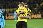 01.12.2018, Signal Iduna Park, Dortmund, GER, DFL, BL, Borussia Dortmund vs SC Freiburg, DFL regulations prohibit any use of photographs as image sequences and/or quasi-video<br /> <br /> im Bild Lukasz Piszczek (#26, Borussia Dortmund) jubelt mit Torschuetze zum 2:0 Paco Alcacer (#9, Borussia Dortmund) <br /> <br /> Foto © nordphoto/Mauelshagen
