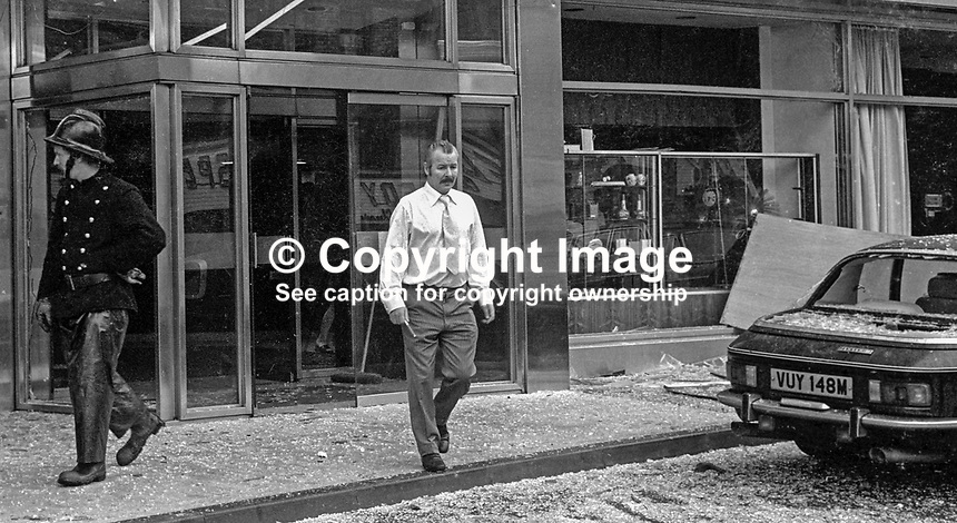 Another day in the life of a Belfast hotel manager! Harper Brown, manager of the city's much-bombed Europa Hotel surveys the damage caused by the latest Provisional IRA bomb on 25h July 1974. Happily no one was injured. 197407250411c..Copyright Image from Victor Patterson, 54 Dorchester Park, Belfast, United Kingdom, UK...For my Terms and Conditions of Use go to http://www.victorpatterson.com/Victor_Patterson/Terms_%26_Conditions.html