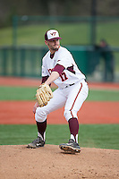 Virginia Tech Hokies relief pitcher Luke Scherzer (17) in action against the Toledo Rockets at The Ripken Experience on February 28, 2015 in Myrtle Beach, South Carolina.  The Hokies defeated the Rockets 1-0 in 10 innings.  (Brian Westerholt/Four Seam Images)