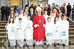 Pupils from Knocknagree NS with Bishop Ray Browne, after they made their Confirmation in St Joesph's church Rathmore on Tuesday front row l-r: Megan O'Keeffe, Dan Murphy, Cathal Bradley, Denis O'Connor, Lily Sheehan, Aisling Davis. Middle row: Niamh Cronin, Ciara Brosnan, Siobhain McSweeney, Kelly Brosnan. back row: Michelle Brosnan, Tadhg O'Mahony, DJ Golden Principal, Eoin Herlihy and Fr Michaal Moynihan