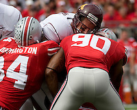 September 27, 2008: Ohio State defensive linemen Doug Worthington (84) and Thaddeus Gibson (90) put a hit on Minnesota quarterback Adam Weber. The Ohio State Buckeyes defeated the Minnesota Gophers 34-21 on September 27, 2008 at Ohio Stadium, Columbus, Ohio.