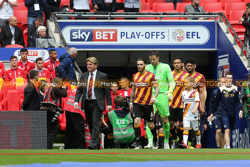 Bradford City Manager, Stuart McCall, leads out his team for the Division One Play-Off Final during Bradford City vs Millwall, Sky Bet EFL League 1 Play-Off Final at Wembley Stadium on 20th May 2017