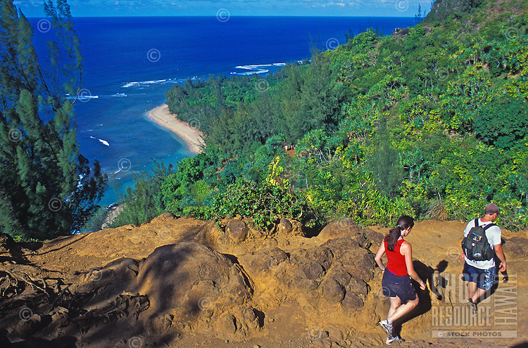 Views of Kee Beach highlight this stretch of the Kalalau Trail, Na Pali Coast, Kauai