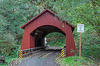 ORCOC_D266 - USA, Oregon, Siuslaw National Forest, North Fork Yachats Bridge, built in 1938, spans the North Fork of the Yachats River.