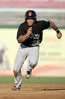 Juan Perez of the San Jose Giants during game against the Inland Empire 66'ers at Arrowhead Credit Union Park in San Bernardino,California on August 1, 2010. Photo by Larry Goren/Four Seam Images