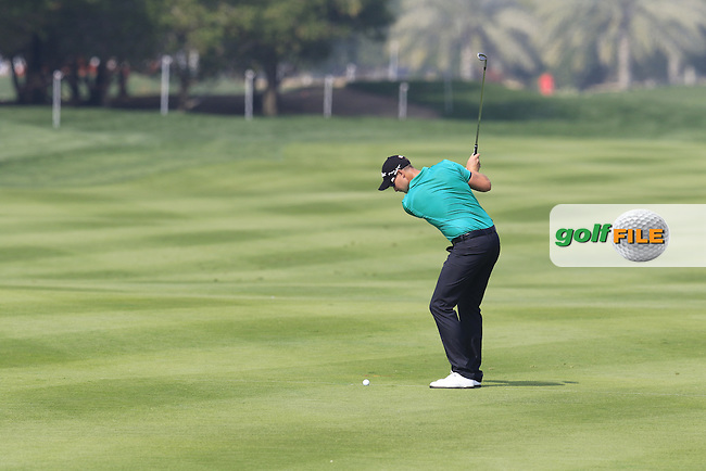 Bjorn Akesson (SWE) plays into the 2nd green during Friday's Round 2 of the 2016 Abu Dhabi HSBC Golf Championship held at the Abu Dhabi National Course, Abu Dhabi, United Arab Emirates. 22nd January 2016.<br /> Picture: Eoin Clarke | Golffile<br /> <br /> <br /> All photos usage must carry mandatory copyright credit (&copy; Golffile | Eoin Clarke)