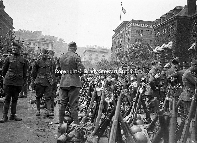 80th Division mustering in the Oakland Section of Pittsburgh to travel to Petersburg VA for boot camp training - Pittsburgh Pennsylvania 1918.  Syria Mosque in the background