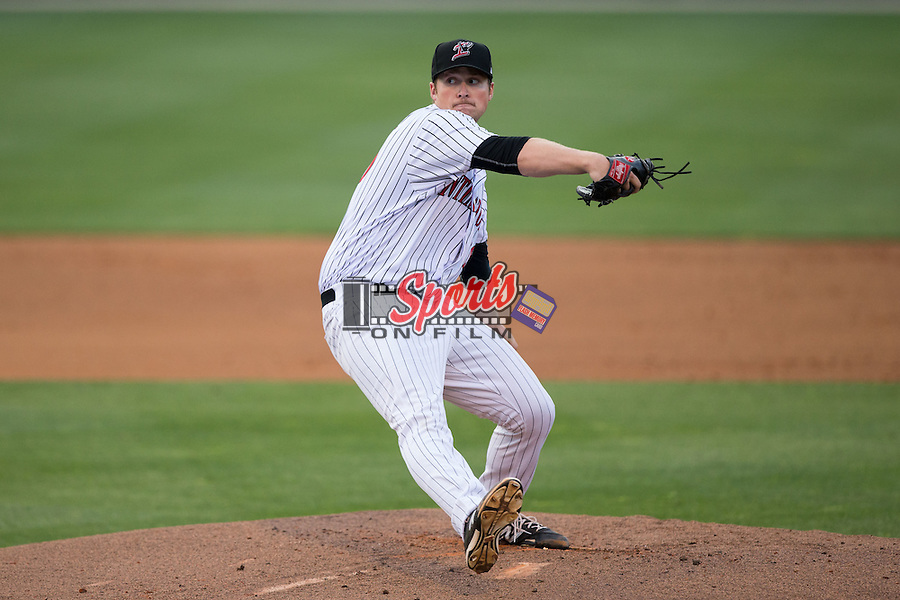 Kannapolis Intimidators starting pitcher Johnathan Frebis (26) in action against the Delmarva Shorebirds at Kannapolis Intimidators Stadium on April 21, 2016 in Kannapolis, North Carolina.  The Intimidators defeated the Shorebirds 9-3.  (Brian Westerholt/Four Seam Images)
