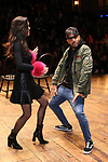 "Sabrina Imamura and Terrance Spencer during The Rockefeller Foundation and The Gilder Lehrman Institute of American History sponsored High School student #eduHam matinee performance of ""Hamilton"" Q & A at the Richard Rodgers Theatre on December 5,, 2018 in New York City."