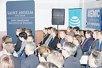 People listen as Vice President Mike Pence arrives to speak at a Politics and Eggs event at Saint Anselm College's Institute of Politics in Manchester, New Hampshire, on Thu., November 7, 2019. Pence traveled to New Hampshire as a surrogate for Donald Trump to file required paperwork for the president to get on the New Hampshire presidential primary ballot in 2020.