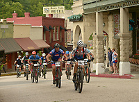 NWA Democrat-Gazette/BEN GOFF @NWABENGOFF<br /> A men's category 3 heat starts their race Sunday, July 16, 2017, from Basin Park in downtown Eureka Springs before making their way onto the singletrack at Lake Leatherwood City Park during cross country races on the final day of the 19th annual Fat Tire Festival.