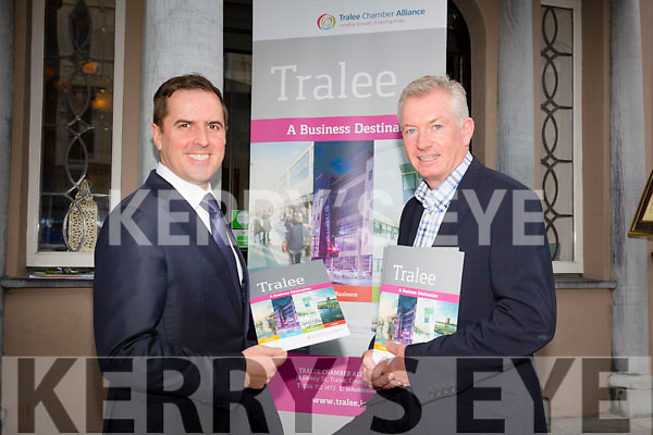 IDA Chief, Martin Shanahan,  gave a talk to business people of Tralee at the  Imperial Hotel on  Friday. Pictured here with Kieran Ruttledge CEO of Tralee Chamber Alliance