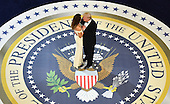 United States President Donald Trump dances with First Lady Melanie Trump while attending the Commander's in Chief Ball on January 20, 2017 in Washington, D.C.  Trump will attend three inaugural balls.  <br /> Credit: Kevin Dietsch / Pool via CNP