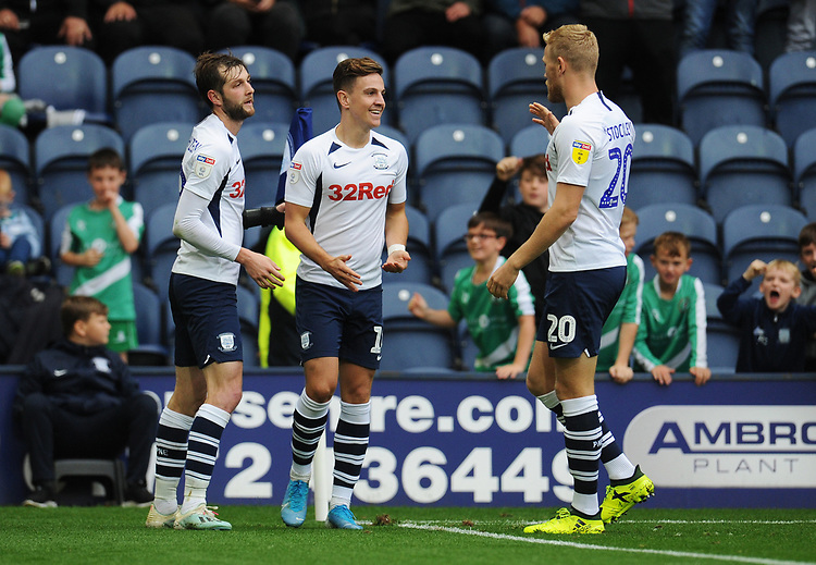 Preston North End's Josh Harrop (centre) celebrates scoring his side's fifth goal with team-mates Tom Barkhuizen and Jayden Stockley<br /> <br /> Photographer Kevin Barnes/CameraSport<br /> <br /> The EFL Sky Bet Championship - Preston North End v Barnsley - Saturday 5th October 2019 - Deepdale Stadium - Preston<br /> <br /> World Copyright © 2019 CameraSport. All rights reserved. 43 Linden Ave. Countesthorpe. Leicester. England. LE8 5PG - Tel: +44 (0) 116 277 4147 - admin@camerasport.com - www.camerasport.com