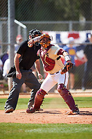 Boston College Eagles catcher Gian Martellini (2) throws down to first base as umpire Zach Tieche looks on during a game against the Central Michigan Chippewas on March 3, 2017 at North Charlotte Regional Park in Port Charlotte, Florida.  Boston College defeated Central Michigan 5-4.  (Mike Janes/Four Seam Images)