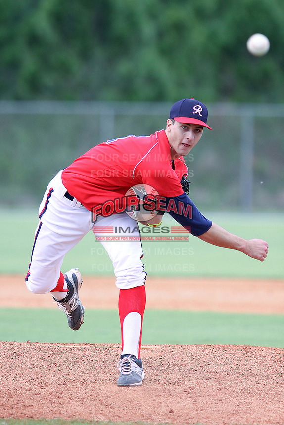 AJ Bogucki, #31 of Boyertown Area High School, Pennsylvania playing for the Mid-Atlantic Rookies during the WWBA World Champsionship 2012 at the Roger Dean Complex on October 27, 2012 in Jupiter, Florida. (Stacy Jo Grant/Four Seam Images)..