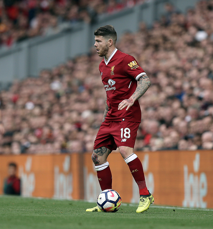 Liverpool's Alberto Moreno<br /> <br /> Photographer Rich Linley/CameraSport<br /> <br /> The Premier League - Liverpool v Manchester United - Saturday 14th October 2017 - Anfield - Liverpool<br /> <br /> World Copyright &copy; 2017 CameraSport. All rights reserved. 43 Linden Ave. Countesthorpe. Leicester. England. LE8 5PG - Tel: +44 (0) 116 277 4147 - admin@camerasport.com - www.camerasport.com