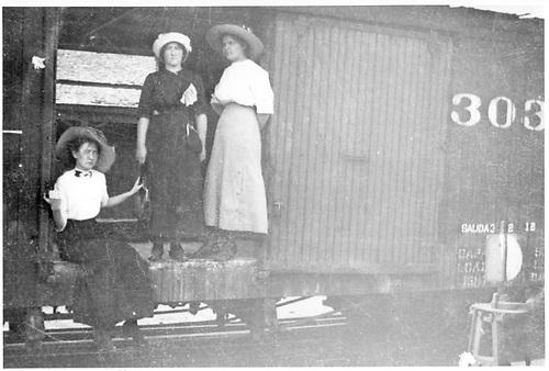 Box car #303? With 3 women in the door.<br /> D&amp;RG    ca 1912