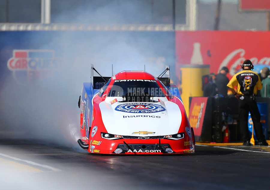 Feb 24, 2017; Chandler, AZ, USA; NHRA funny car driver Robert Hight during qualifying for the Arizona Nationals at Wild Horse Pass Motorsports Park. Mandatory Credit: Mark J. Rebilas-USA TODAY Sports