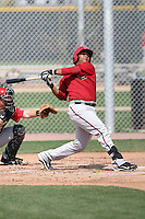 Rossmel Perez of the Arizona Diamondbacks plays in a minor league spring training game against the Cincinnati Reds at the Diamondbacks minor league complex on March 15, 2011  in Scottsdale, Arizona. .Photo by:  Bill Mitchell/Four Seam Images.