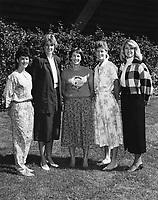 1986: Women's Basketball Coaching Staff.<br /><br />Left to Right: Asst. Coach Julie Plank, Asst. Coach June Daugherty, Head Coach Tara VanDerveer, Asst. Coach Amy Tucker, Admin. Asst. Carolyn Walker.