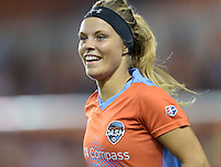 Rachel Daly (3) of the Houston Dash is all smiles after her goal ties the score 1-1 in the first half against the Chicago Red Stars on Saturday, April 16, 2016 at BBVA Compass Stadium in Houston Texas.