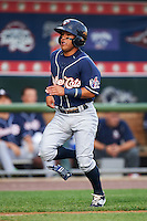 New Hampshire Fisher Cats second baseman Jorge Flores (6) scores a run during a game against the Harrisburg Senators on July 21, 2015 at Metro Bank Park in Harrisburg, Pennsylvania.  New Hampshire defeated Harrisburg 7-1.  (Mike Janes/Four Seam Images)