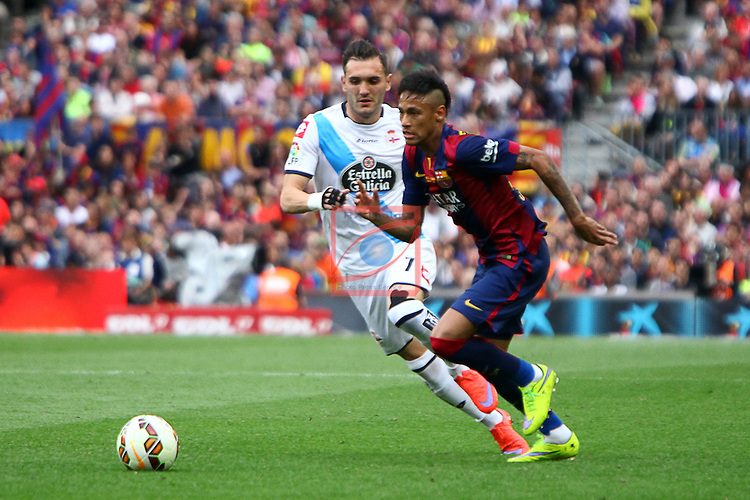 League BBVA 2014/2015. Game: 38.<br /> FC Barcelona vs Deportivo: 2-2.<br /> Lucas vs Neymar.